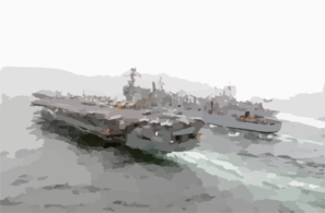U.s. Navy Ships Conducting A Replenishment At Sea Operation. Clip Art
