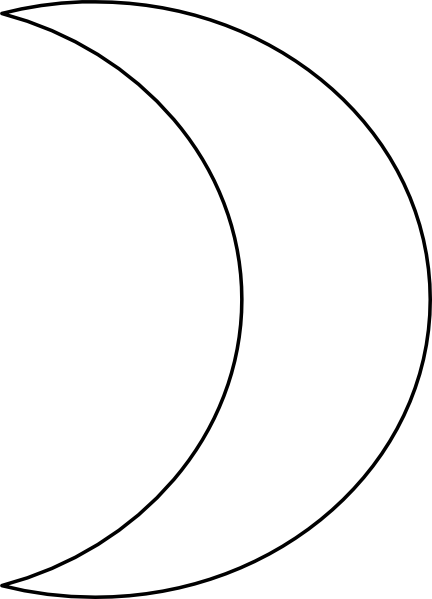 Crescent moon clip art at vector clip art for Half moon coloring pages