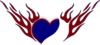 Blue Heart Red Flames Clip Art