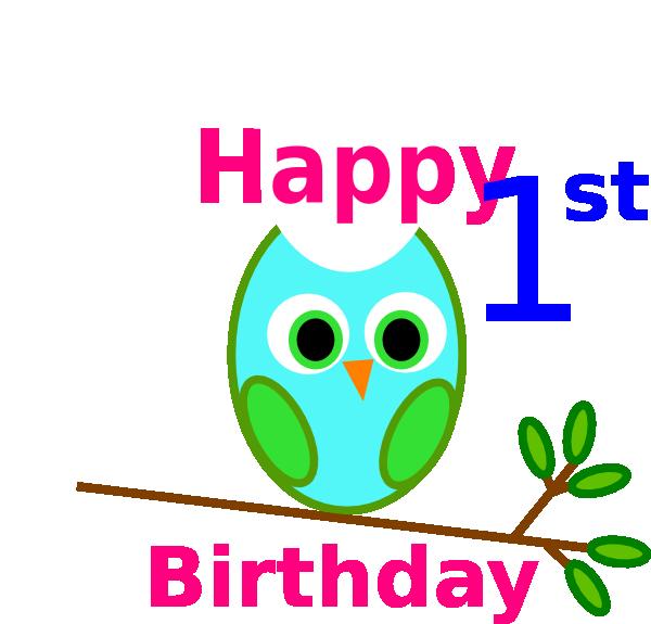 Blue Green Owl 1st Birthday Clip Art at Clker.com - vector ...