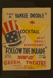 Try A Yankee Doodle Cocktail - New! Novel! Different! -  Follow The Parade  Now At Greek Theatre. Clip Art