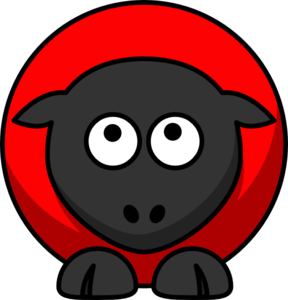Sheep - Red On Red On Black Eyes To Up Clip Art