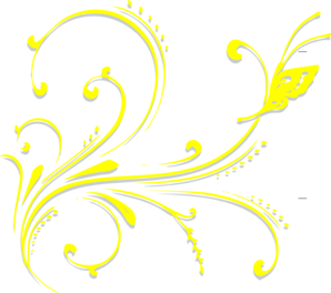 Butterfly Scroll Yellow Clip Art