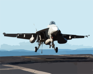 An F/a-18e  Super Hornet  Assigned To The  Eagles,  Of Strike Fighter Squadron One One Five (vfa-115) Makes An Arrested Landing Aboard Ship. Clip Art