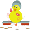 Easter Chick Kicking Eggs Clip Art