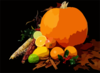 Still Life Picture Of A Pumpkin And Other Various Fruit On Black Background Clip Art