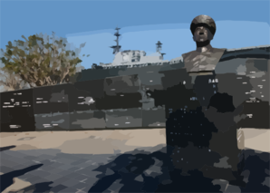 Against The Backdrop Of The Battle Of Letye Gulf Memorial In Downtown San Diego, The Decommissioned Aircraft Carrier Midway Is Moved Into Her Final Berth At The Old Naval Supply Pier Clip Art