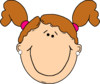 Light Brown Hair Girl With Ponytails Clip Art