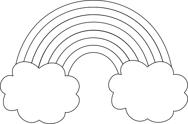 Rainbow With Clouds Outline Clip Art At Clker