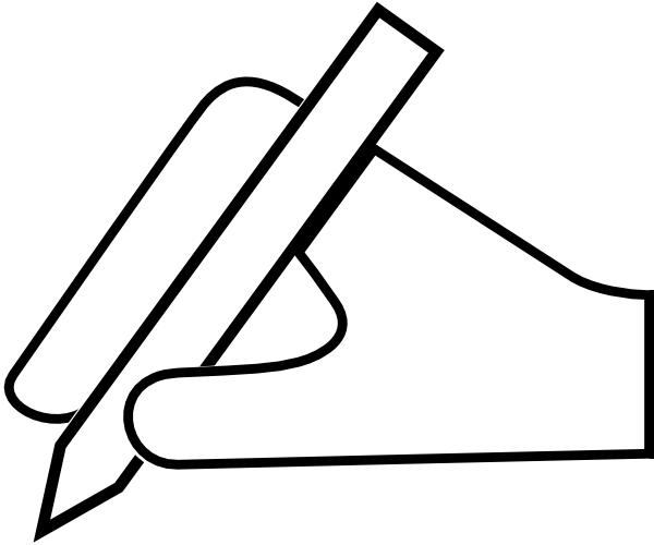 white hand pen icon clip art at clkercom vector clip