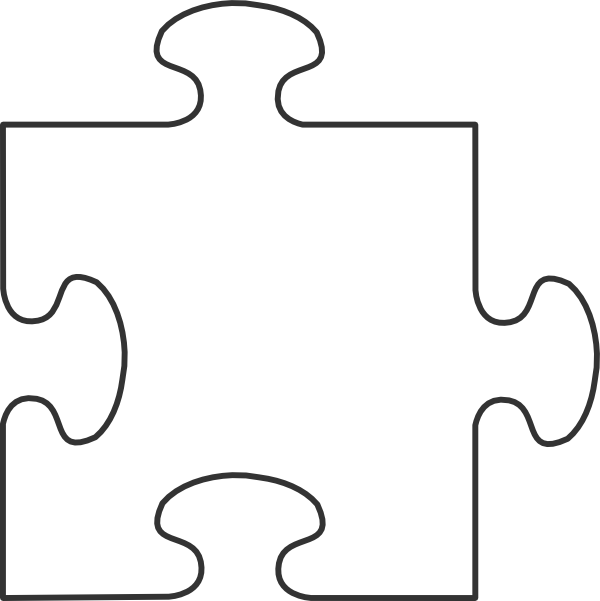 large blank puzzle pieces template - white border puzzle piece top clip art at