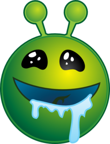 Smiley Green Alien Drooling No Shadow Clip Art at Clker ... Wow Face Clip Art