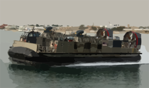 Lcac Departs From A Large Cement Parking Pad On A Beach Clip Art