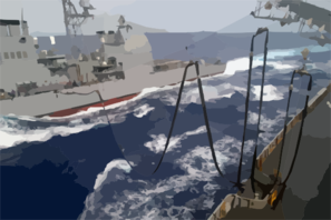 The Guided Missile Cruiser Uss Antietam (cg 54) Prepares To Receive A Fuel Hose From The Fast Combat Support Ship Uss Sacramento (aoe 1) During A Replenishment At Sea (ras) Clip Art