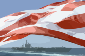 The Uss Nimitz (cvn 68) Steams Alongside The Princeton As The American Flag Waves Proudly In The Wind. Clip Art