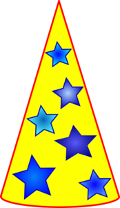 Blue Stars On Yellow Thinking Hat Clip Art