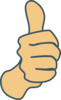 Thumbs Up, Modified Original With Dark Blue Borders Clip Art