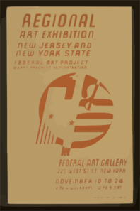 Regional Art Exhibition - New Jersey And New York State Federal Art Project Works Progress Administration - Federal Art Gallery. Clip Art