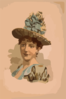 [head-and-shoulders Image Of Brunette Woman, Facing Right, Wearing Large Blue Hat] Clip Art