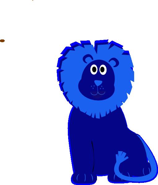 Cute Blue vector clip Clip Clker.com -  Lion at Art art
