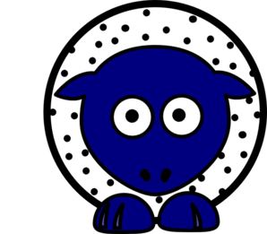 Sheep - White With Black Polka-dots And Blue Feet Wider Body Clip Art