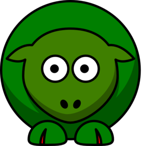 Sheep Green Looking Forward Two Tone Clip Art