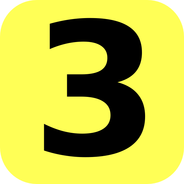 Yellow Rounded Number 3 Clip Art At Clker Com