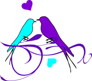 Birds On A Branch Aqua Purple2 Clip Art