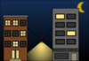 Building Night Scene Clip Art