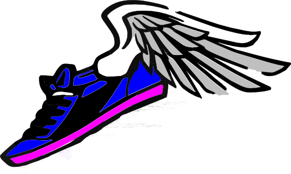 Blue Gold Shoe With Wings Track And Field Clipart