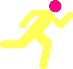 Yellow Pink Running Icon On Transparent Background Clip Art