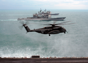 An Mh-53e Sea Dragon Assigned To The Blackhawks Of Helicopter Mine Countermeasures Squadron One Five (hm-15) Lands On The Flight Deck Aboard Uss Enterprise (cvn 65), Image