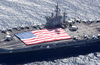 Uss Nimitz (cvn 68) And Carrier Air Wing Eleven (cvw-11) Personnel Participate In A Flag Unfurling Rehearsal Image
