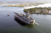 Sailors Assigned To The Nuclear Powered Aircraft Carrier Uss Nimitz (cvn 68) And Embarked Carrier Air Wing One One (cvw-11) Man The Rails Upon Entering Pearl Harbor, Hawaii. Image