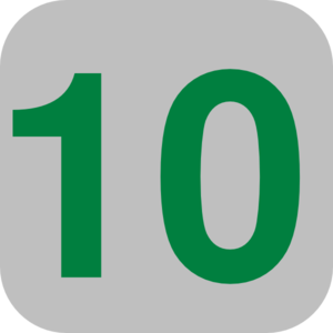 Number 10 Grey Flat Icon Clip Art