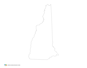 State Outline Map New Hampshire X Image