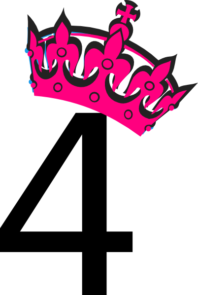 Pink Tilted Tiara And Number 4 Clip Art At Clker Com