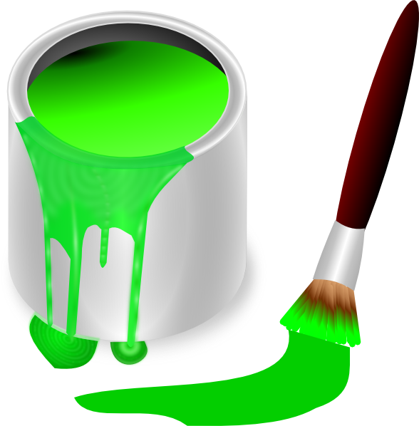 Green Paint Brush And Can Clip Art at Clker.com - vector ...