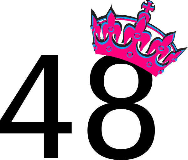 Clipart Pink Tilted Tiara And Number 48 on crown number 4
