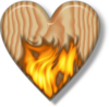 Flaming Wooden Heart Image