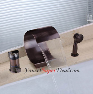 Oil Rubbed Bronze Finish Antique Waterfall Bathtub Faucet Bd Image