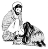Mary Anoints Jesus Clipart Image
