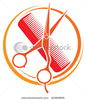 A Red Comb With A Pair Orange Scissors Image
