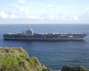 The Aircraft Carrier Uss Carl Vinson (cvn-70) Approaches Apra Harbor For Port Call In Guam Image