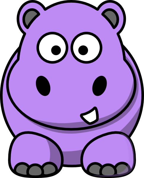 Clipart Cartoon Hippo 1 on Sea Turtle