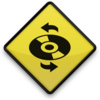 Yellow Road Sign Icon Media Cd Refresh Image