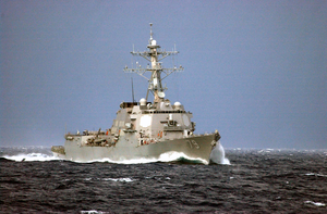 The Guided Missile Destroyer Uss Oscar Austin (ddg 79) Steams Off The Coast Of Florida Image