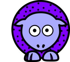 Sheep - Purple With Black Polka-dots And Blue Feet Wider Body Clip Art
