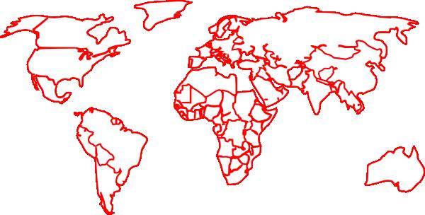 Black Red Outline World Map No Background Clip Art At Clker.com