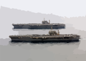 The Aircraft Carriers Uss Constellation (cv 64) And Uss Kitty Hawk (cv 63) Steam Alongside One Another. Clip Art